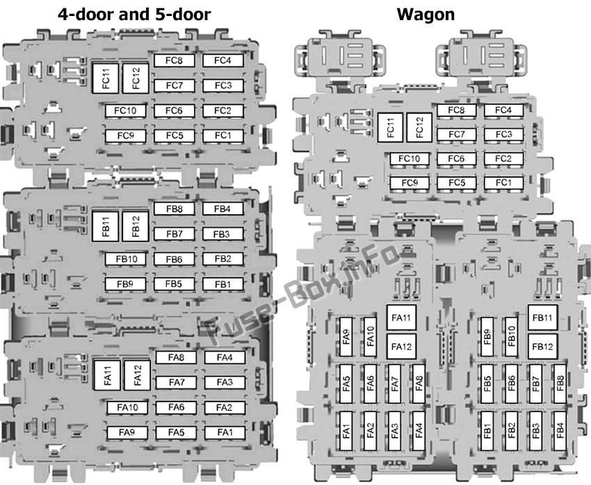 Trunk fuse box diagram: Ford Mondeo (2007, 2008, 2009, 2010)