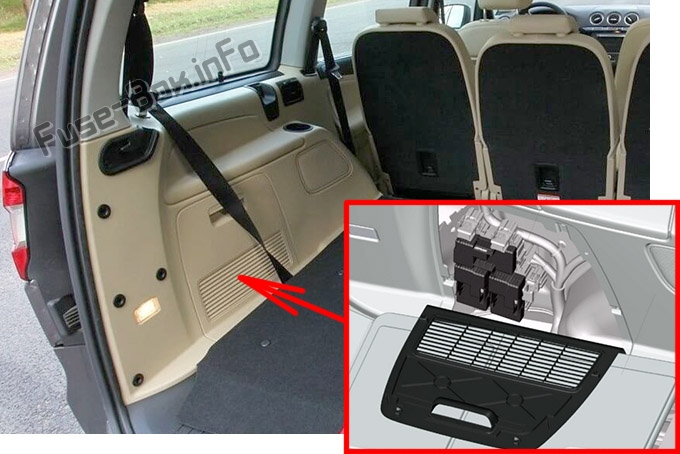 The location of the fuses in the trunk: Ford S-MAX / Ford Galaxy (2006-2014)