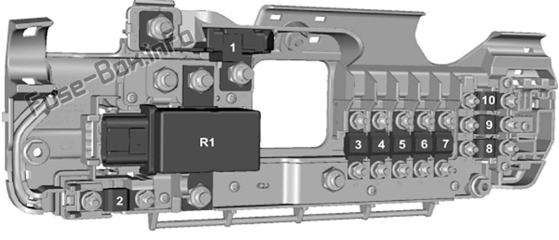 Pre-fuse box diagram: Ford Transit (2007, 2008, 2009, 2010, 2011, 2012, 2013, 2014)