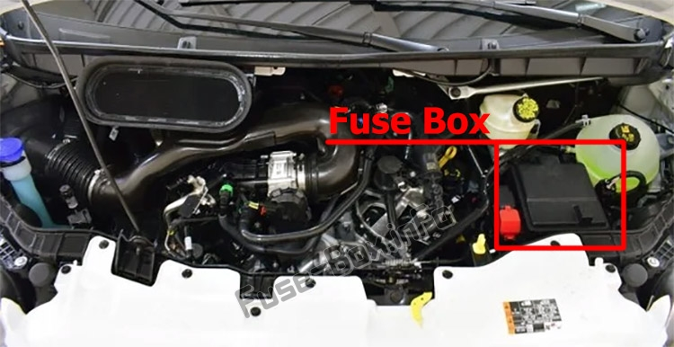 The location of the fuses in the engine compartment: Ford Transit (2019, 2020, 2021...)