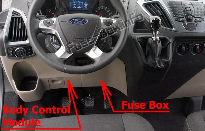 La ubicación de los fusibles en el habitáculo: Ford Transit Custom (2012-2016)