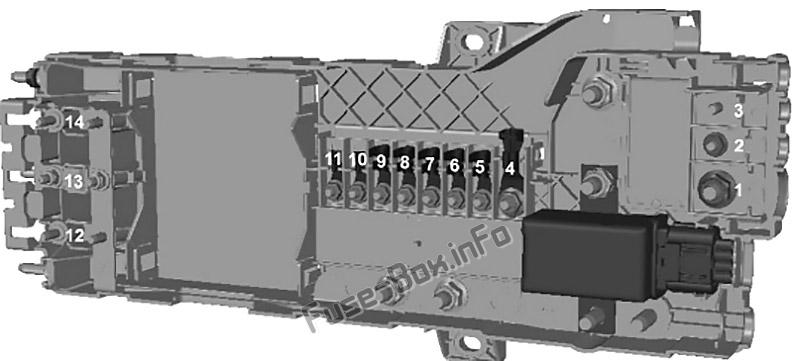 Diagrama de la caja de fusibles: Ford Transit Custom (2012, 2013, 2014, 2015, 2016)