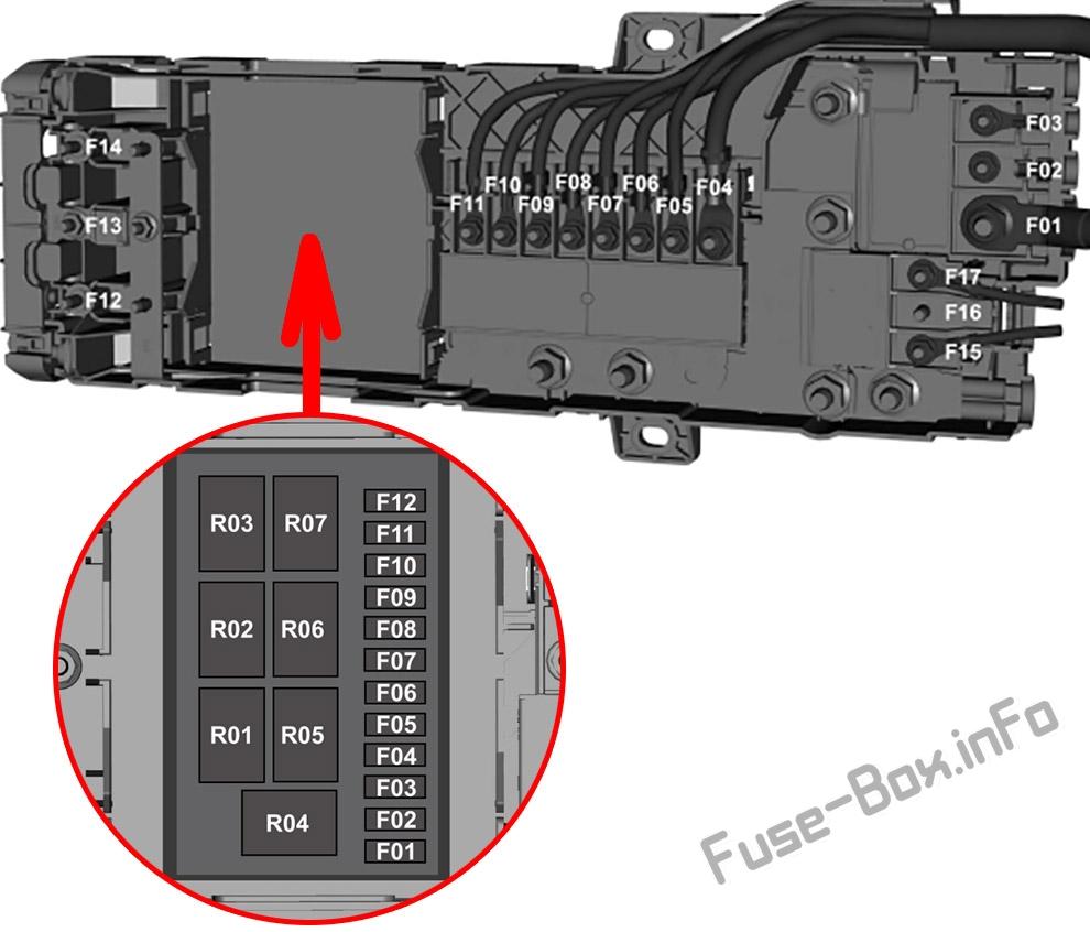 Pre-fuse Box diagram: Ford Transit Custom / Tourneo Custom (2016, 2017, 2018)