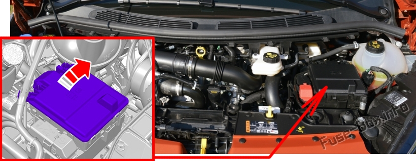 The location of the fuses in the engine compartment: Ford Transit Custom (2019, 2020-..) 2.0L and PHEV