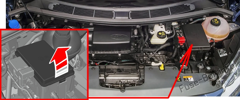 The location of the fuses in the engine compartment: Ford Transit Custom (2019, 2020-..) 2.2L Diesel