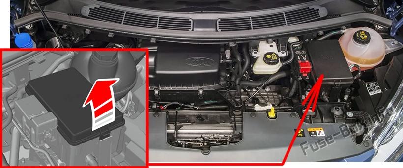 La ubicación de los fusibles en el compartimiento del motor: Ford Transit Custom (2019, 2020- ..) 2.2L Diesel