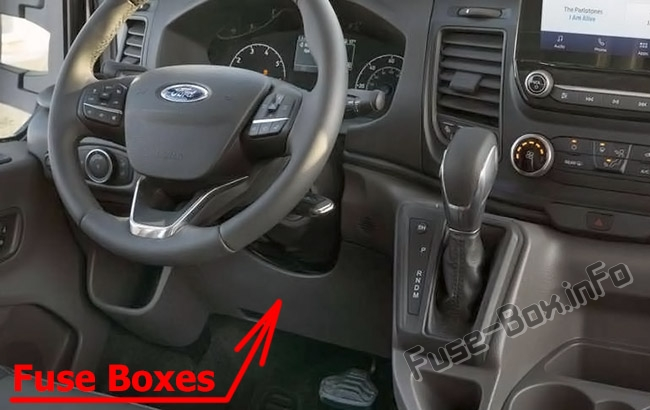 The location of the fuses in the passenger compartment: Ford Transit Custom (2019, 2020-..)