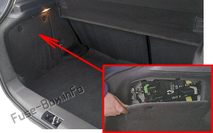 The location of the fuses in the trunk: Opel Astra H / Vauxhall Astra (2004-2009)