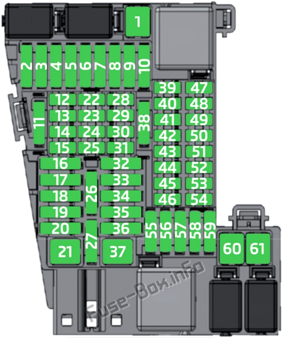 Instrument panel fuse box diagram: SEAT Ibiza (2017)