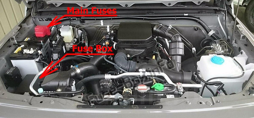 The location of the fuses in the engine compartment: Suzuki Jimny (2018, 2019, 2020-…)