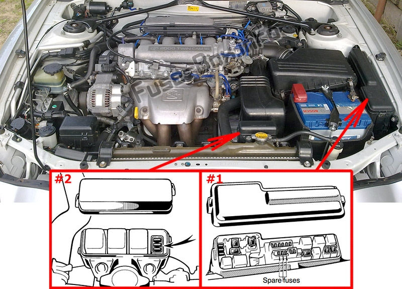 The location of the fuses in the engine compartment: Toyota Celica (1993-1999)