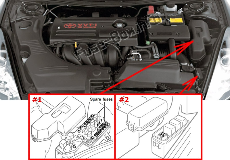 The location of the fuses in the engine compartment: Toyota Celica (1999-2006)