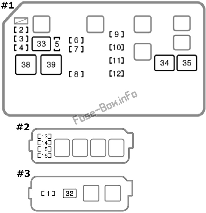 Under-hood fuse box diagram: Toyota Corolla (1998, 1999, 2000, 2001, 2002)