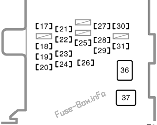 Interior fuse box diagram: Toyota Corolla (1998, 1999, 2000, 2001, 2002)
