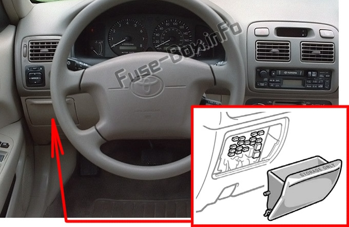 The location of the fuses in the passenger compartment: Toyota Corolla (1998-2002)