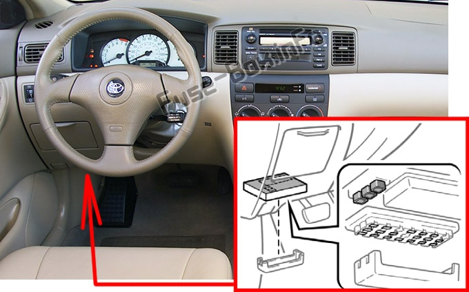 The location of the fuses in the passenger compartment: Toyota Corolla (2003-2008)