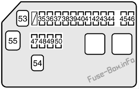 Under-hood fuse box diagram: Toyota MR2 (1999, 2000, 2001, 2002, 2003, 2004, 2005)