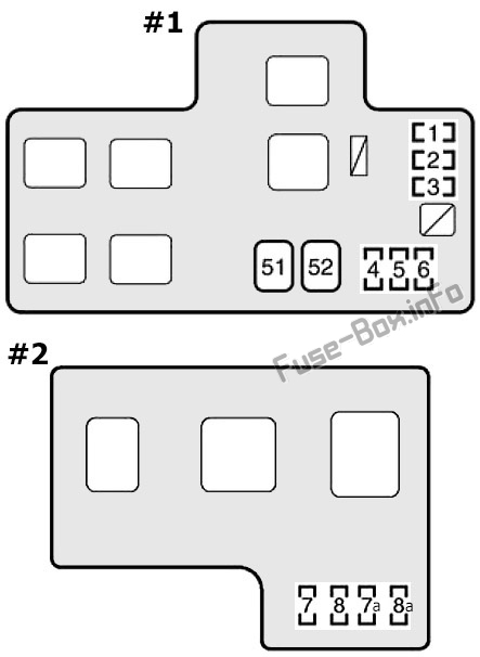 Trunk fuse box diagram: Toyota MR2 (1999, 2000, 2001, 2002, 2003, 2004, 2005)