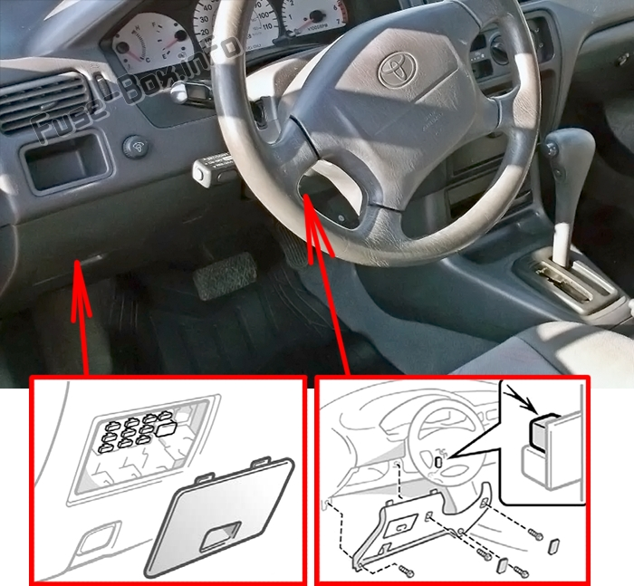 The location of the fuses in the passenger compartment: Toyota Paseo (L50; 1995-1999)