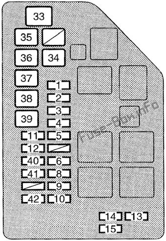 Under-hood fuse box diagram: Toyota Supra (1995, 1996, 1997, 1998)