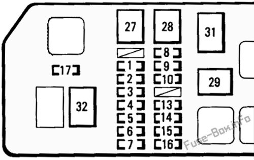 Under-hood fuse box diagram: Toyota Tacoma (1995, 1996, 1997)