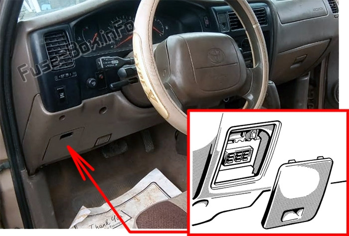 The location of the fuses in the passenger compartment: Toyota Tacoma (1995-2000)