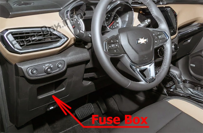 The location of the fuses in the passenger compartment: Chevrolet TrailBlazer (2020, 2021...)
