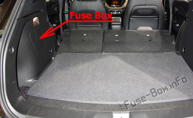 The location of the fuses in the trunk: Chevrolet TrailBlazer (2020, 2021...)