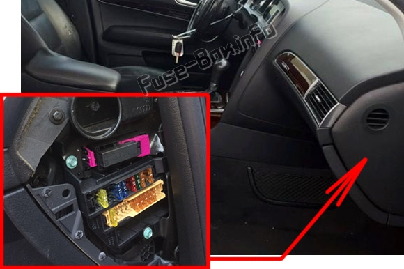 The location of the fuses in the passenger compartment (right): Audi A6 / S6 (2008-2011)