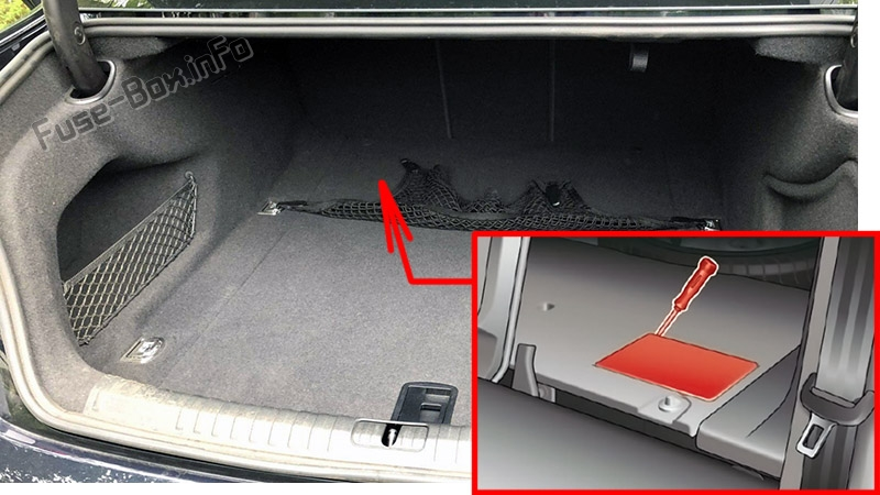 The location of the fuses in the trunk: Audi A6 / S6 (2018-2020...)
