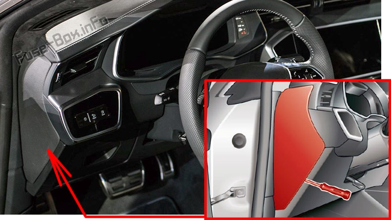 The location of the fuses in the passenger compartment: Audi A7 / S7 (2018, 2019, 2020...)