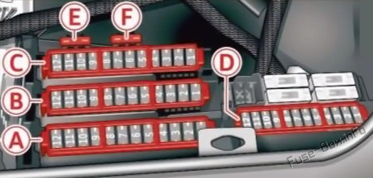 Trunk fuse box diagram: Audi A7 / S7 (2014, 2015, 2016, 2017)