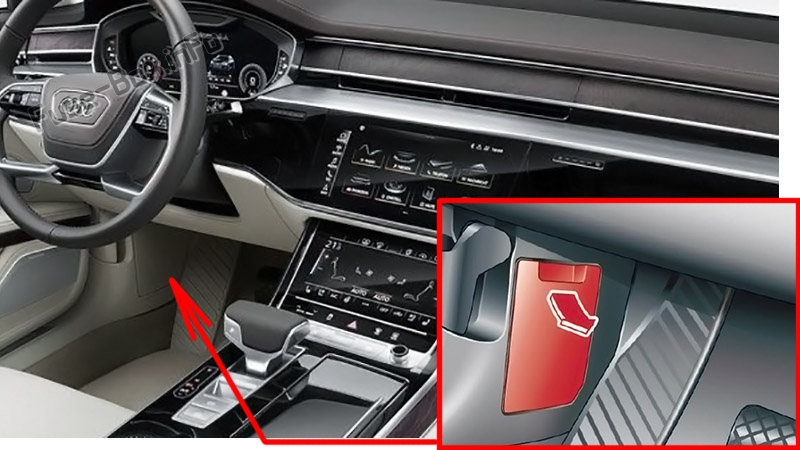 The location of the fuses in the passenger compartment: Audi A8 / S8 (2018-2020...)