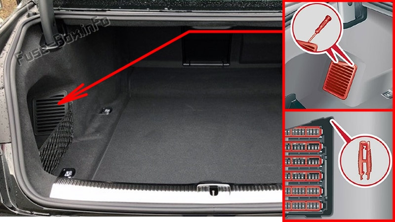The location of the fuses in the trunk: Audi A8 / S8 (2018-2020...)