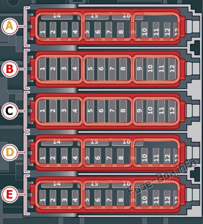 Driver's footwell fuse box diagram (ver.2): Audi Q8 (2019, 2020...)