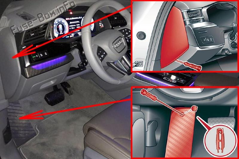 La ubicación de los fusibles en el habitáculo: Audi Q8 (2019, 2020 ...)