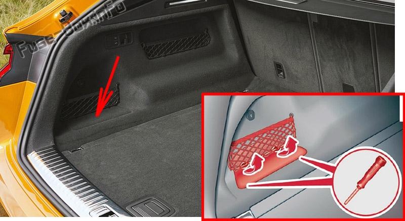 La ubicación de los fusibles en el maletero: Audi Q8 (2019, 2020 ...)
