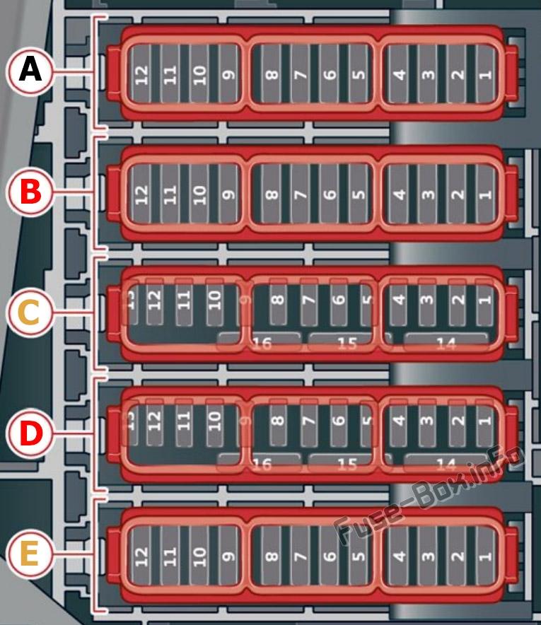 Trunk fuse box diagram: Audi Q8 (2019, 2020...)