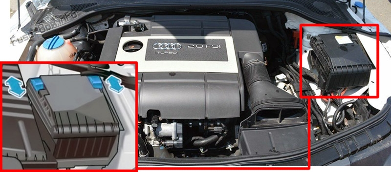 The location of the fuses in the engine compartment: Audi TT (2006-2014)