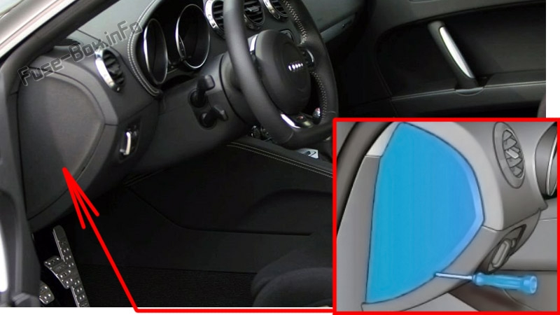 The location of the fuses in the passenger compartment: Audi TT (2006-2014)