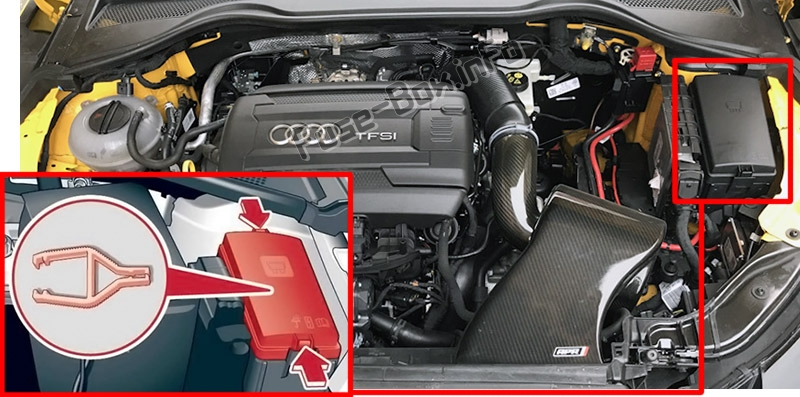 The location of the fuses in the engine compartment: Audi TT (2015-2020)