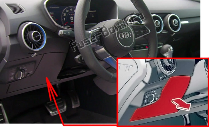 The location of the fuses in the passenger compartment: Audi TT (2015-2020)