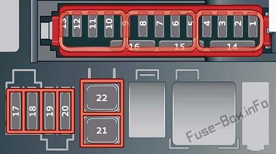 Under-hood fuse box diagram: Audi e-tron (2019, 2020...)