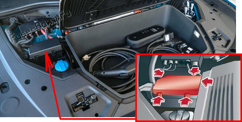 The location of the fuses in the front compartment: Audi e-tron (2019, 2020...)