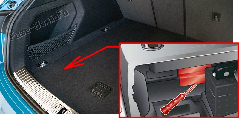 The location of the fuses in the trunk: Audi e-tron (2019, 2020...)