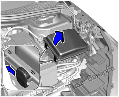 The location of the fuses in the engine compartment: Opel / Vauxhall Corsa F (2019, 2020..)