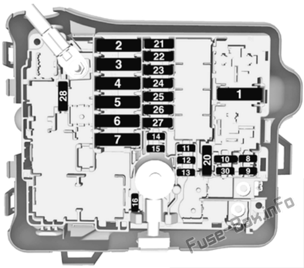 Under-hood fuse box diagram: Opel/Vauxhall Crossland X (2017, 2018, 2019-...)