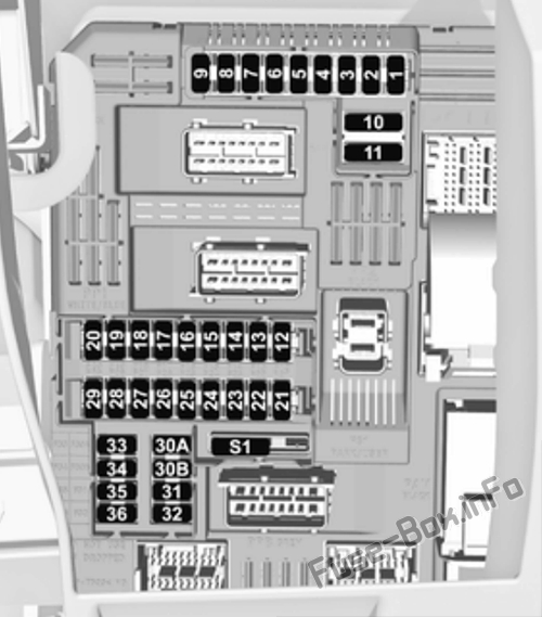 Instrument panel fuse box diagram (left side): Opel/Vauxhall Crossland X (2017, 2018, 2019-...)
