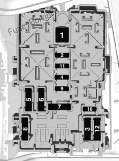 Instrument panel fuse box diagram (right side): Opel/Vauxhall Crossland X (2017, 2018, 2019-...)