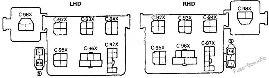 Bloque de relés: Mitsubishi Pajero (1991, 1992, 1993, 1994, 1995, 1996, 1997, 1998, 1999)